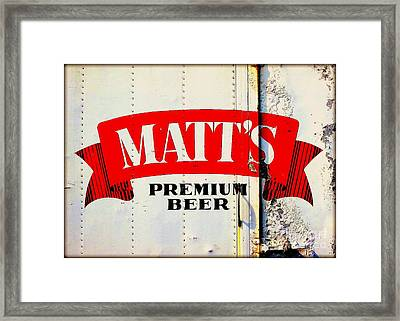 Vintage Matt's Premium Beer Sign Framed Print by Peter Gumaer Ogden