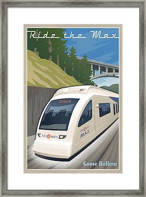 Vintage Max Light Rail Travel Poster Framed Print by Mitch Frey