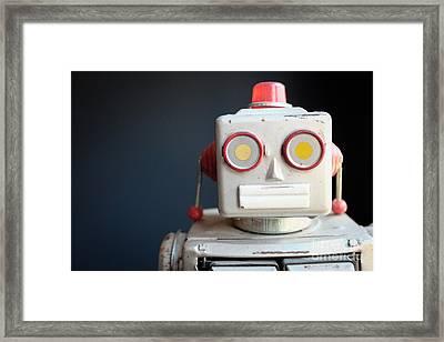 Vintage Mechanical Robot Toy Framed Print