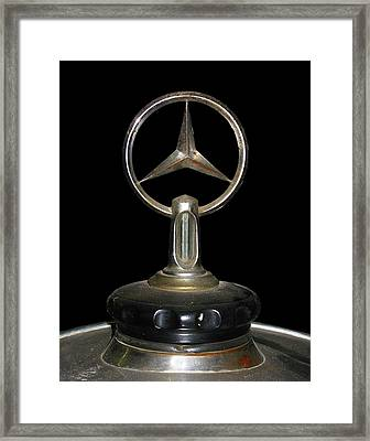 Framed Print featuring the photograph Vintage Mercedes Radiator Cap by David and Carol Kelly