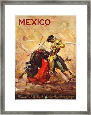 Vintage Mexico Bullfight Travel Poster Framed Print