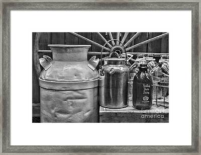 Vintage Milk In Black And White Framed Print by Paul Ward