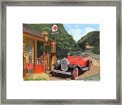 Vintage Mobilgas Station  Framed Print by Jack Pumphrey