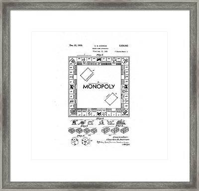 Vintage Monopoly Patent 1935 Framed Print by Bill Cannon