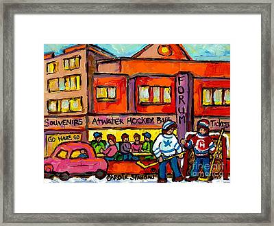 Vintage Montreal Forum Winter Scene With Outdoor Street Hockey Game Canadian Painting For Sale  Framed Print by Carole Spandau