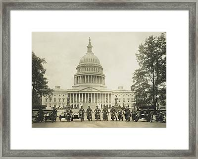 Vintage Motorcycle Police - Washington Dc  Framed Print by War Is Hell Store