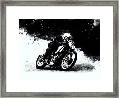 Vintage Motorcycle Racer Framed Print