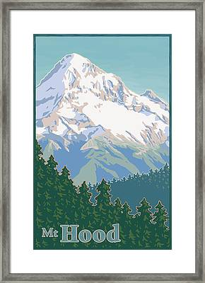 Vintage Mount Hood Travel Poster Framed Print by Mitch Frey