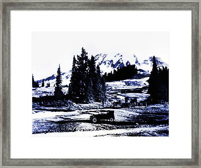 Vintage Mount Rainier With Antique Car Early 1900 Era... Framed Print by Eddie Eastwood