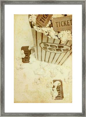 Vintage Movie Tickets And Popcorn Framed Print by Jorgo Photography - Wall Art Gallery