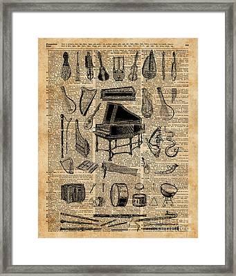Vintage Music Instruments Dictionary Art Framed Print