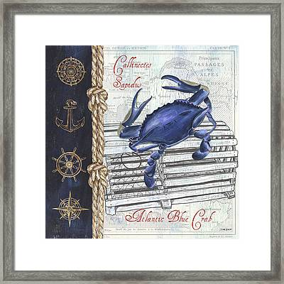 Vintage Nautical Crab Framed Print by Debbie DeWitt