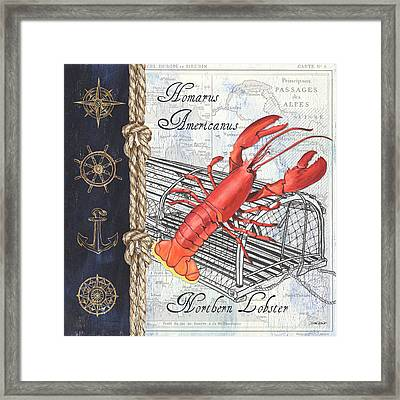 Vintage Nautical Lobster Framed Print by Debbie DeWitt