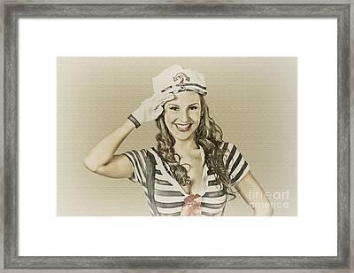 Vintage Navy Sailor Pin Up Girl  Framed Print