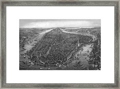 Vintage New York City Map 1873 Framed Print by Dan Sproul
