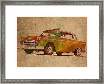 Vintage New York City Taxi Cab Watercolor Painting On Worn Canvas Framed Print by Design Turnpike