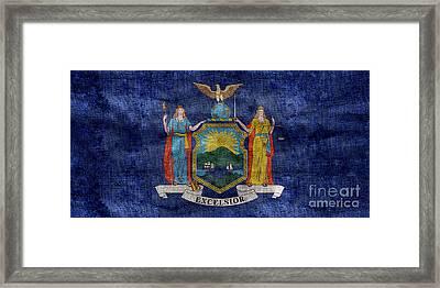 Vintage New York Flag Framed Print by Jon Neidert