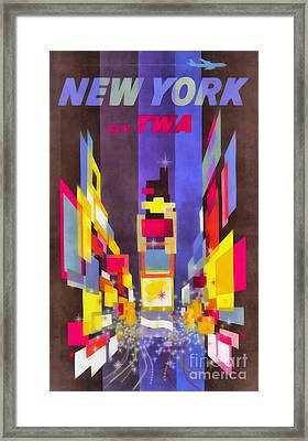 Vintage New York Fly Twa Times Square Framed Print by Edward Fielding