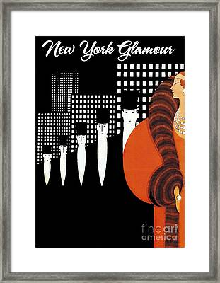 Vintage New York Glamour Art Deco Framed Print by Mindy Sommers