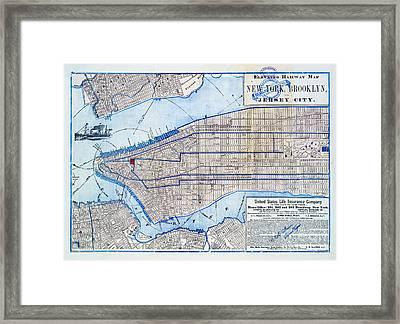 Vintage New York Map Framed Print