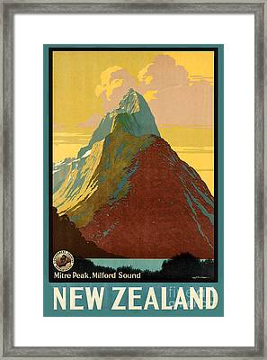 Vintage New Zealand Travel Poster Framed Print