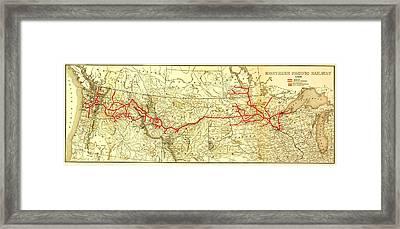 Vintage Northern Pacific Railway Map Framed Print