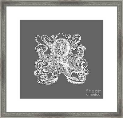 Vintage Octopus Illustration Framed Print