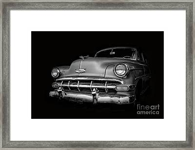 Vintage Old Chevy Classic Black And White Framed Print