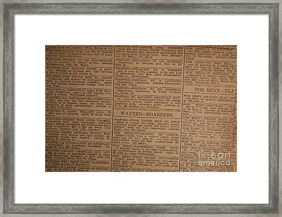 Vintage Old Classified Newspaper Ads Framed Print by Edward Fielding