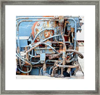 Framed Print featuring the photograph Vintage Old Diesel Engine On A Ship by Yali Shi