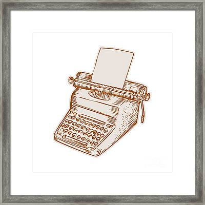 Vintage Old Style Typewriter Etching Framed Print