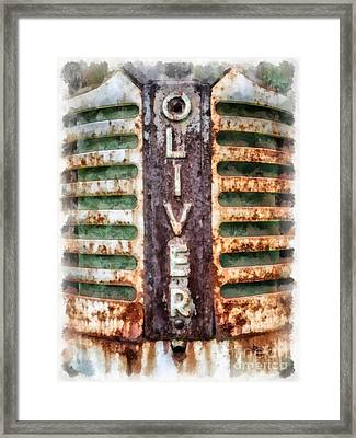 Vintage Oliver Tractor Grill Framed Print by Edward Fielding
