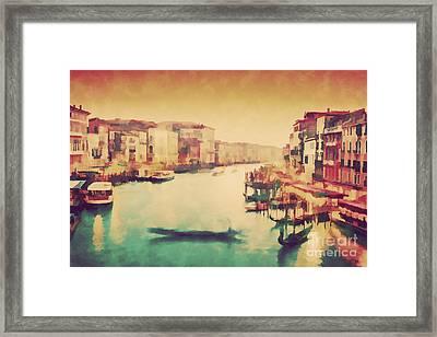 Vintage Painting Of Venice, Italy. Gondola Floats On Grand Canal Framed Print