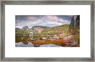 Vintage Panorama Of Bear Lake In The Fall - Rocky Mountain National Park Estes Park Colorado Framed Print by Silvio Ligutti
