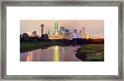 Vintage Panorama Of Dallas Skyline At Night - Dallas Dfw North Texas Framed Print