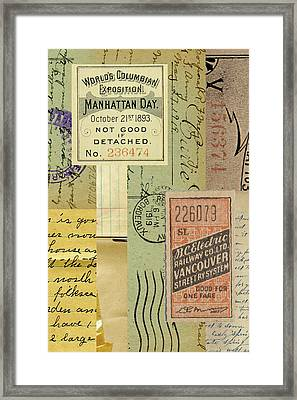 Vintage Paper Collage Framed Print