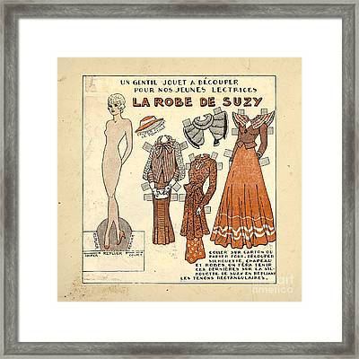 Vintage Paper Doll Framed Print by Delphimages Photo Creations