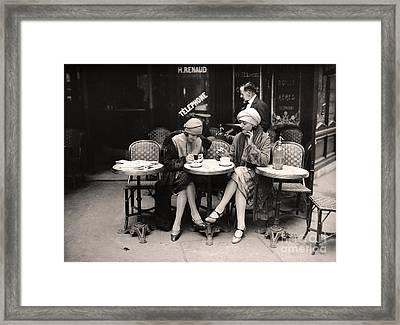Vintage Paris Cafe Framed Print by Mindy Sommers