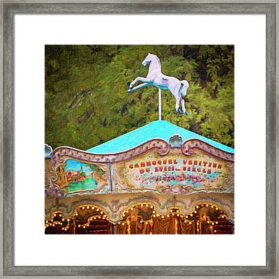Framed Print featuring the photograph Vintage Paris Carousel by Melanie Alexandra Price