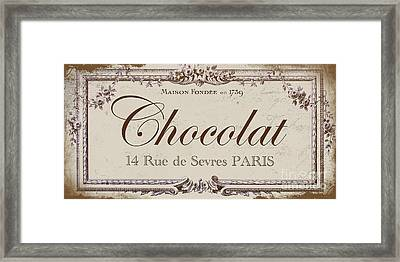 Vintage Paris Chocolate Sign Framed Print by Mindy Sommers