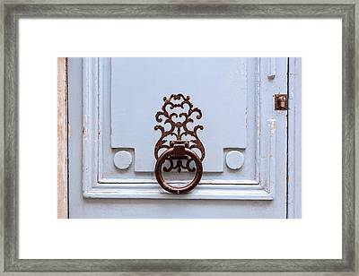 Framed Print featuring the photograph Vintage Paris Door Knocker by Melanie Alexandra Price