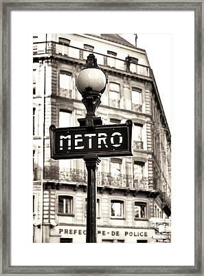 Vintage Paris Metro Framed Print by John Rizzuto