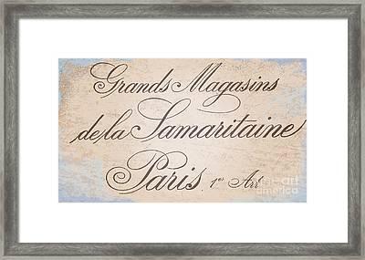 Vintage Paris Script Sign Framed Print by Mindy Sommers