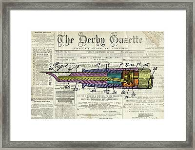 Vintage Patent Pen Drawing, Colorful Art On Old Newspaper Framed Print
