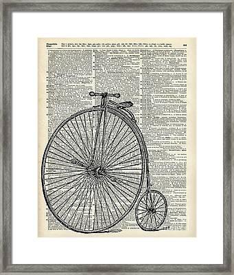 Vintage Penny Farthing Bicycle Framed Print