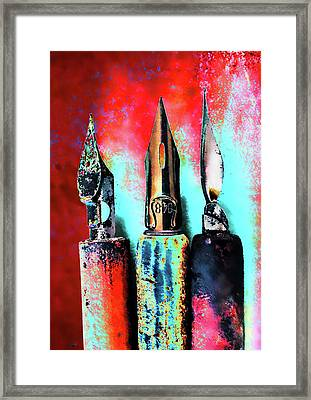 Vintage Pens Trio Framed Print by Carol Leigh