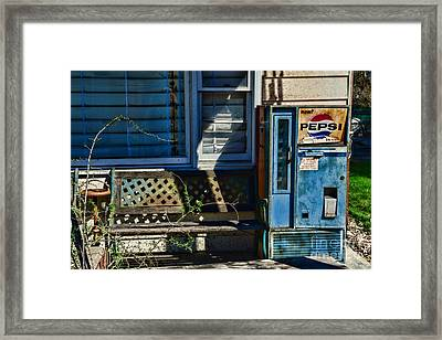 Vintage Pepsi Machine By The Bench Framed Print by Paul Ward