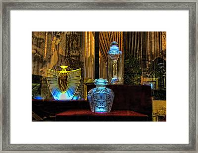 Framed Print featuring the photograph Vintage Perfume Bottles by John Rivera