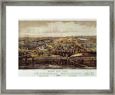 Vintage Philadelphia 1876 Centennial Map Framed Print
