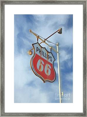 Vintage Phillips 66 Sign Framed Print by Benanne Stiens
